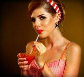 Retro woman with music vinyl record. Pin up girl drink martini cocktail. Girl pin-up retro style wea poster