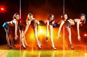 picture of pole dancer  - Five young women show on scene - JPG