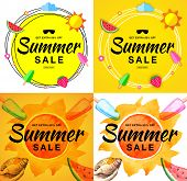 Summer Sale Template Banners. Hand Drawn Lettering. Scribble Circle On Bright Yellow Background With poster