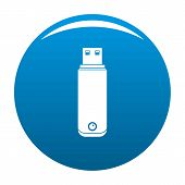 Digital Flash Drive Icon. Simple Illustration Of Digital Flash Drive Vector Icon For Any Design Blue poster
