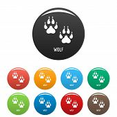 Wolf Step Icon. Simple Illustration Of Wolf Step Vector Icons Set Color Isolated On White poster