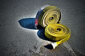 picture of firehose  - Image of two rolled up fire hoses - JPG