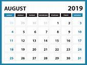 Desk Calendar For August 2019 Template, Printable Calendar, Planner Design Template,  Week Starts On poster