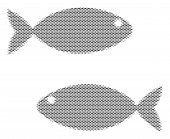 Fish Fish Pair Halftone Composition. Vector Fish Icons Are Organized Into Fish Pair Composition. Sea poster