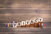 Privacy, Gdpr. General Data Protection Regulation. Cyber Security And Privacy Concept. Wooden Letter poster