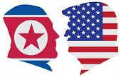 May 14, 2018: Us President Donald Trump And Kim Jong Un Silhouettes With United States America  And  poster