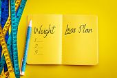 Weight Loss And Diet Control Concept Background. Colorful Of Measuring Tape On Vibrant Yellow Color  poster