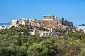 Beautiful View Of The Acropolis In Athens, Greece. The Ancient Greek Parthenon On Acropolis Hill Is  poster