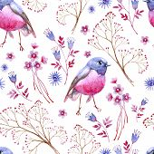 Watercolor Seamless Crimson Blue Texture. Clipart Consist Of Berries, Flowers, Leaves, Bird And Bran poster