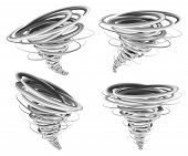 Hurricane Storm Tornado Mockup Set. Realistic Illustration Of 4 Hurricane Storm Tornado Mockups For  poster
