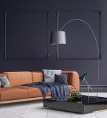 Luxury Modern Dark Blue Living Room Interior With White Parquet Floor, Brown Sofa, Floor Lamp And Co poster