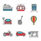 Постер, плакат: Public Transport Color Icons Set Modes Of Transport Cruise Ship Funicular Train Parking Zone S
