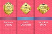 Exclusive Quality 100 Guarantee High End Brand Golden Labels Set Award Emblems Isolated On Pink. Vec poster