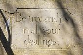 A Stone On Arundel Bridge In West Sussex, Portraying An Engraved Motto - Be True And Just In All You poster
