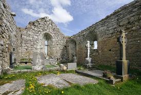 picture of carron  - 13th century Carron Church in the Burren Co. Clare Ireland Interior view - JPG