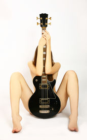 picture of denude  - denuded girl with guitar - JPG