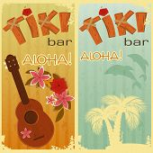 foto of ukulele  - retro cards for Tiki bars Hawaiian party two postcards in vintage style with hand drawn text Aloha and Tiki  - JPG