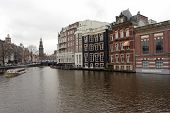 foto of marquise  - South Amsterdam with the clock tower and canals in Spring - JPG