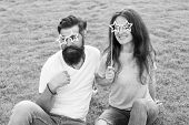 Emotional People. Couple Dating. Carefree Couple Having Fun Green Lawn. Man Bearded Hipster And Pret poster