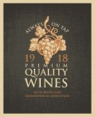 Vector Banner Or Label For Winery And Premium Quality Wines With A Hand-drawn Bunch Of Grapes On An  poster
