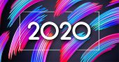 2020 New Year Sign With Spectrum Brush Strokes. Illustration Of Colorful Gradient Brush Design - Vec poster