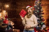 Portrait Of Surprised And Funny Christmas Man. Expression And People Concept - Man With Funny Face O poster