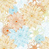 Vector background with hand drawn flowers. (Seamless Pattern)