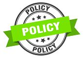 Policy Label. Policy Green Band Sign. Policy poster