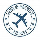 London Gatwick Airport Logo. Airport Stamp Vector Illustration. London Aerodrome. poster