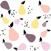 Creative Seamless Pattern With Pears In Pastel Colors. Scandinavian Stylish Background. Nordic Desig poster