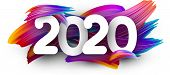 White 2020 New Year Background With Spectrum Brush Strokes. Colorful Gradient Brush Design. Banner O poster