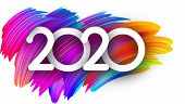 White 2020 New Year Background With Spectrum Brush Strokes. Illustration Of Colorful Gradient Brush  poster