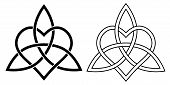 Sign Eternal Love Heart Intertwined With Lotus Flower, Vector Sign Of Infinite Love And Loyalty Hear poster