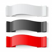 White, Black And Red Clothing Label On White Background. Clothing Fabric Tag Stitch, Realistic Brigh poster