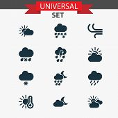 Climate Icons Set With Sunset, Light Snow Shower, Temperature And Other Moonlight Elements. Isolated poster