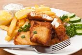 pic of halibut  - Fish and chips on a plate - JPG