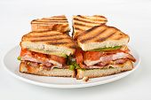 Bacon, lettuce and tomato BLT sandwiches  on a plate