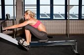 Woman On Indoor Rowing Machine
