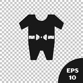 Black Baby Clothes Icon Isolated On Transparent Background. Baby Clothing For Baby Girl And Boy. Bab poster