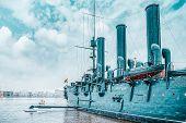 Saint Petersburg, Russia - November 08, 2019: Cruiser Avrora In The Neva River, City Saint Petersbur poster