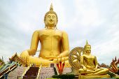 The Great Buddha Of Thailand, 92 Metres High Sitting Golden Buddha Image  At Wat Muang Temple In Ang poster