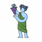 Dionysus, Acient Greek God Of Wine. Mythology. Flat Vector Illustration. Isolated On White Backgroun poster