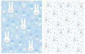 Seamless Vector Pattern With Lovely Easter Eggs,cute Bunnies And Floral Print.lovely Rabbits In A Ha poster