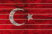 National Flag  Of Turkey On A Wooden Wall Background. The Concept Of National Pride And A Symbol Of  poster