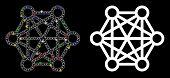 Flare Mesh Network Connections Icon With Glitter Effect. Abstract Illuminated Model Of Network Conne poster
