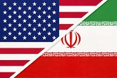 Usa Vs Islamic Republic Of Iran National Flag From Textile. Relationship, Partnership And Economic B poster