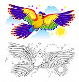 Colorful And Black And White Page For Coloring Book For Kids. Fantasy Drawing Of Cute Parrot Flying  poster