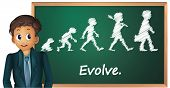 Illustration of a business man presenting evolution