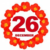 December 26 Icon. For Planning Important Day. Banner For Holidays And Special Days With Flowers. Twe poster