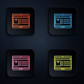 Color Neon Line Laptop With App Delivery Tracking Icon On Black Background. Parcel Tracking. Set Ico poster